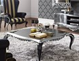 French black gloss and gold leaf carved square coffee table