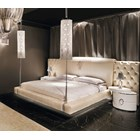 Italian Upholstered Button Tufted Bedstead With LED Lamps