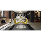 Loop gold, red and silver leaf console table