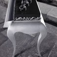 Black and silver carved console table with 1 drawer 120 cm