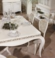 Cream square dining table with carving 140 x 140 cm