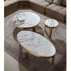 Medium Round Terzo Coffee Table With Marble Top