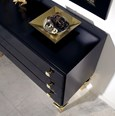 Magnus Black And Gold Leaf Chest Of Drawers With 3 Drawers