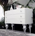 Magnus White And Silver Leaf Chest Of Drawers