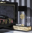 Luxus Black and Gold Leaf Low Bedside Table