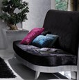 Magnus Black Crushed Velvet Upholstered Sofa With Silver Leaf Carved Frame