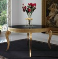 Luxus Carved Gold Leaf & Black Top Round Table