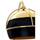 Midnight Black Lacquered, Gold Plated Brass & Glass Wall Lamp