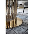 Polished Gold Round Milena Dining Table With Marble Top