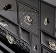 Luxury glass encased black and silver multi drawer sideboard