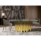 Orchard Gold Plated Brass & Walnut Wood Glass Dining Table