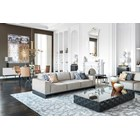 Portafino Upholstered Lacquered Stainless Steel Sofa Large