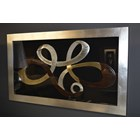 Rectangle Silver and Gold Leafed Crystal Floating Ribbon Framed Box Wall Art