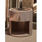 Rouge Upholstered Marble Round Italian Bedside Table