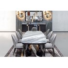 Rectangular High Gloss Satchi Dining Table With Marble Top