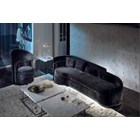 Scroll Upholstered Plush Velvet Steel Grey Sofa