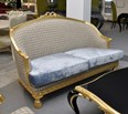 Duck egg blue carved sofa settee