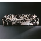 Smoky Chestnut Upholstered Studded Plush Velvet Sofa
