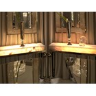 Italian Stainless Steel & Onyx Marble LED Console Table