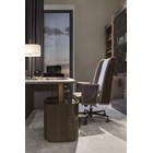 Touched D Canaletto Walnut, Leather & Brass Desk With Drawers