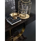 Touched D Curve Burnished Brass & Lacquered Smoke Wooden Top Console Table