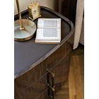 Touched D Curved Gloss Canaletto & Brass 3 Drawer Nightstand