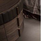 Touched D Curved Gloss Canaletto, Marble, Brass & Leather Dresser