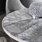 Touched D Pillar Leather & Emperador Marble Top Round Dining Table