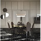 Touched D Revolving Gloss Canaletto Walnut & Brass Round Dining Table
