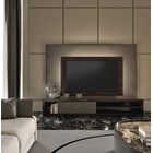 Touched D Walnut & Leather Media Cabinet