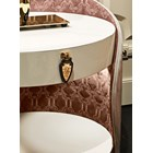 Italian Upholstered & Lacquered Curved Bedside Table
