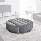Round Upholstered Vittoria Quilted Ottoman