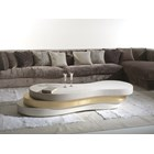 Wave 3 Tier Upholstered Leather Gold And Silver Coffee Table