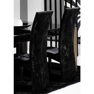 High Back Upholstered Black Crushed Velvet Fabric Chair