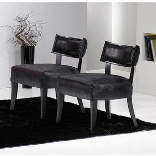 Upholstered Low Wide Black Fabric Chair