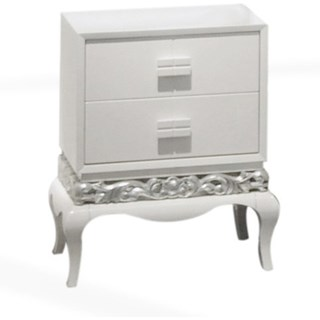 Glossy white bedside table with silver leaf carvings