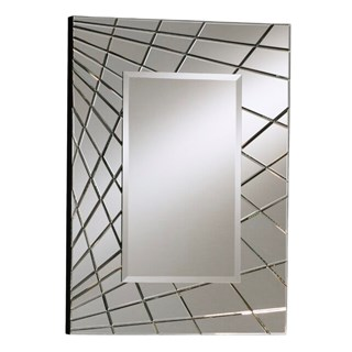 Silver & Black Lacquer Beveled Mirror | Touched Interiors