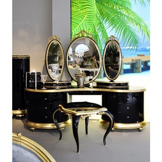 Luxury high gloss black and gold carved Swarovski dressing table