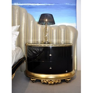 High gloss black and gold carved bedside table with Swarovski handles