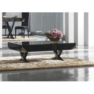Luxury black gloss and antique gold leaf coffee table