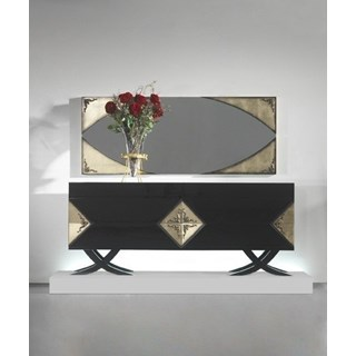 Luxury black gloss and antique gold leaf sideboard with cross legs