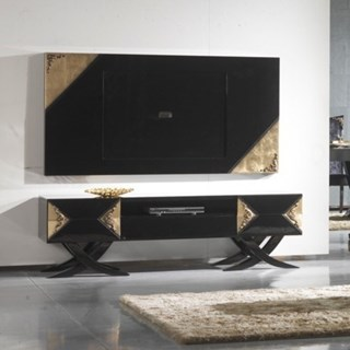 Luxury black and antique gold leaf TV frame
