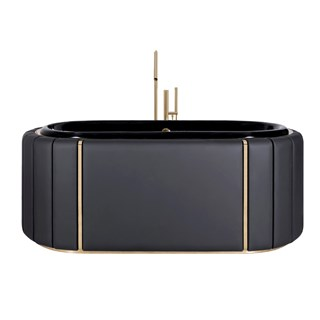 Black Stitched Leather & Golden Brass Luxury Bathtub | Touched Interiors