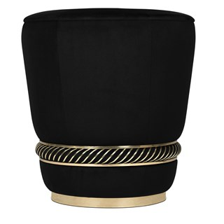 Black Velvet & Gold Plated Brass Ring Curved Stool