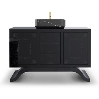 Black Lacquered Mirror And Nero Marquina Marble Storage Wash Basin