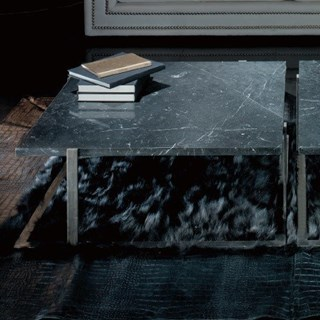 Black Marble And Silver Steel Square Coffee Table