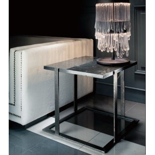 Black Marble And Silver Steel Square Side Table