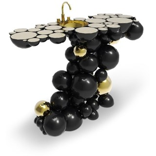 Brass And Gold Plated Black High Gloss Bubbles Wash Basin Large