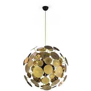 Brass Gold Plated Carved Spheres Chandelier
