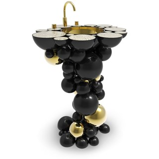 Brass And Gold Plated Black High Gloss Bubbles Free-Standing Wash Basin